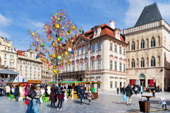 berömd easter marknad, gammal stadfyrkant, Prague, Tjeckien Royaltyfria Bilder
