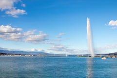 Berömd ` eau för stråle D av lemanen för geneva springbrunnsjö royaltyfria foton