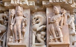Berömd forntida tempel i Khajuraho, Indien Royaltyfria Foton