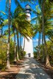 Berömd fyr på Key Biscayne, Miami royaltyfria bilder