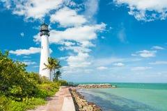 Berömd fyr på Key Biscayne, Miami royaltyfri foto