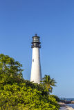 Berömd fyr på udde Florida på Key Biscayne royaltyfri bild