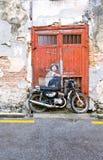 Berömd gata Art Mural i George Town, plats för Penang Unesco-arv, Malaysia Arkivfoto