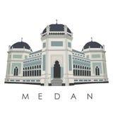 Berömd gränsmärke av den Medan staden av Indonesien royaltyfri illustrationer