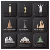 Berömd gränsmärke av världssymbolsuppsättningen stock illustrationer