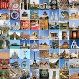 Berömd gränsmärkecollage för värld arkivbilder