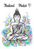 Berömd gränsmärkesamling för värld askfat blommahuslake phuket thailand stora buddha Skönhetvektorkonstverk Perfekt mall för din  vektor illustrationer