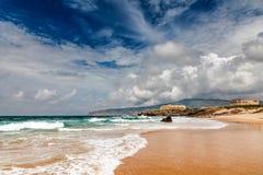 Berömd Guincho strand i Cascais nära Lisbon Fotografering för Bildbyråer