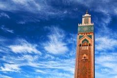Berömd Hassan II moské i Casablanca, Marocko Arkivbild