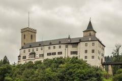Berömd historisk panorama 160 km eller 100 mil söder av Prague, Arkivfoto