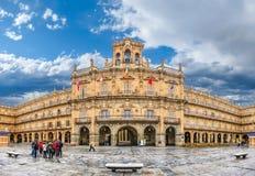 Berömd historisk Plazaborgmästare i Salamanca, Castilla y Leon, Spanien arkivbilder