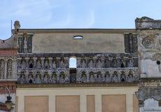 Berömd historisk vägg, Presov, Slovakien arkivfoton