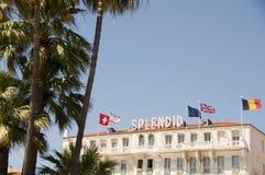 Berömd hotellarkitektur Cannes Frankrike Royaltyfri Bild