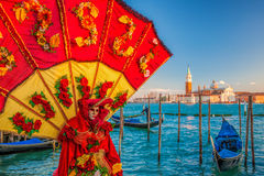 Berömd karneval i Venedig, Italien arkivbild