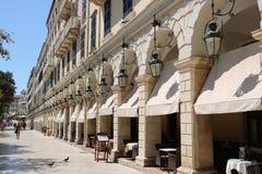 Berömd Liston gata i den Korfu staden Grekland Royaltyfria Bilder