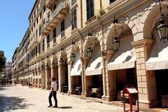 Berömd Liston gata i den Korfu staden (Grekland) Royaltyfria Bilder