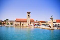 Mandraki hamn, Rhodes, Grekland Arkivbilder