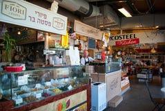 Berömd mat marknadsför inomhus Tel Aviv Israel Fotografering för Bildbyråer