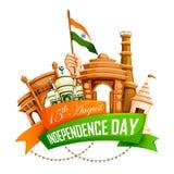 Berömd monument av Indien i indisk bakgrund för lycklig självständighetsdagen Arkivbilder
