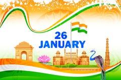 Berömd monument på Indien bakgrund stock illustrationer