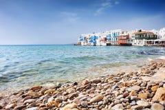 Berömd Mykonos stad, Cyclades, Grekland fotografering för bildbyråer