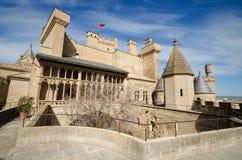 Berömd Olite slott i Navarra, Spanien Fotografering för Bildbyråer