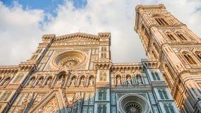 Berömd Piazza del Duomo på solnedgången i Florence, Tuscany, Italien Royaltyfri Fotografi
