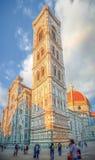 Berömd Piazza del Duomo på solnedgången i Florence, Tuscany, Italien Arkivfoton
