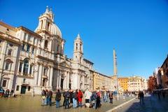 berömd piazza rome för obelisk för springbrunnitaly navona Arkivfoton