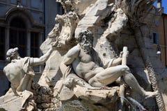 berömd piazza rome för obelisk för springbrunnitaly navona arkivbilder