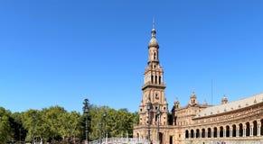 Berömd Plaza de Espana-- Seville Andalusia, Spanien gammal landmark royaltyfri bild