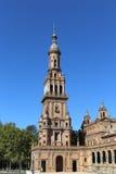 Berömd Plaza de Espana - spanjoren kvadrerar i Seville, Andalusia, Spanien gammal landmark royaltyfria bilder