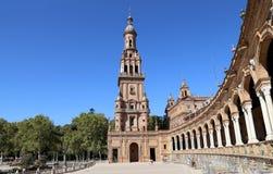 Berömd Plaza de Espana - spanjoren kvadrerar i Seville, Andalusia, Spanien gammal landmark royaltyfri foto