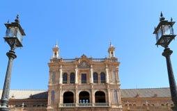 Berömd Plaza de Espana - spanjoren kvadrerar i Seville, Andalusia, Spanien gammal landmark Royaltyfri Bild