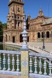 Berömd Plaza de Espana - spanjoren kvadrerar i Seville, Andalusia, Spanien gammal landmark Arkivfoton