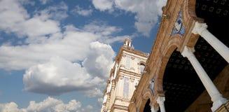 Berömd Plaza de Espana - spanjoren kvadrerar i Seville, Andalusia, Spanien gammal landmark Arkivbilder
