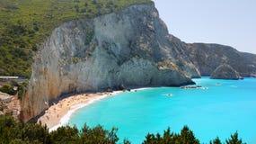 Berömd Porto Katsiki strand, Lefkada, Grekland arkivbilder