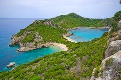 Berömd Porto Timoni för 2 sida strand, Korfu, Grekland arkivbild