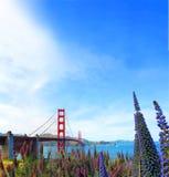 Berömd röd upphängning Golden gate bridge i San Francisco, USA Arkivfoton