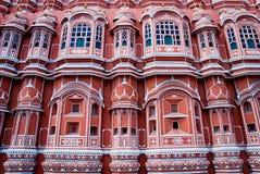 Berömd Rajasthan gränsmärke - Hawa Mahal slott (slotten av segern Arkivfoton