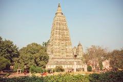 Berömd 3rd för århundrade buddistMahabodhi F. KR. tempel - Great Awakening - i Bodhgaya, Indien Fotografering för Bildbyråer