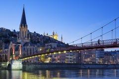 Berömd sikt av kyrkan i Lyon Arkivbilder