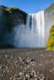Berömd Skogafoss vattenfall i Island med regnbågen Arkivbilder