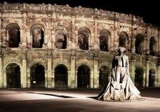 berömd staty för bullfighter Arkivfoto