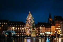 Berömd Strasbourg julgran Fotografering för Bildbyråer