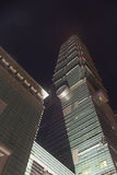 Berömd Taipei 101 skyskrapa på natten Arkivfoto