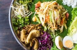 Berömd thailändsk mat för Papayasallad, Somtum Fotografering för Bildbyråer