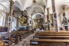Berömd Trunesco abbotskloster i Traunkirchen Arkivbilder
