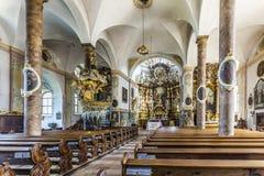Berömd Trunesco abbotskloster i Traunkirchen Royaltyfri Bild