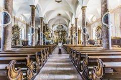 Berömd Trunesco abbotskloster i Traunkirchen Fotografering för Bildbyråer